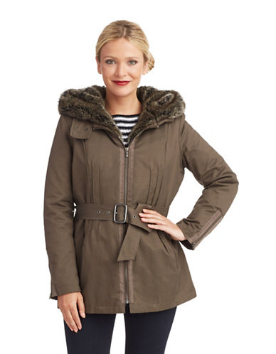 7 FOR ALL MANKIND Belted Parka With Faux Fur