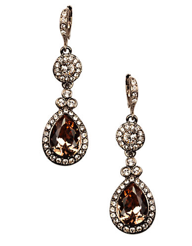 GIVENCHY Brown Gold Plated Crystal Drop Earrings