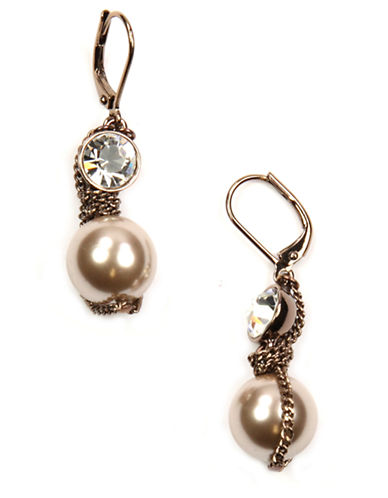 GIVENCHY Brown-Gold Plated Faux Pearl Drop Earrings