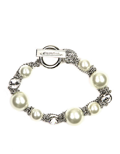GIVENCHY Silver Tone Toggle Bracelet with Faux Pearls and Crystal Accents