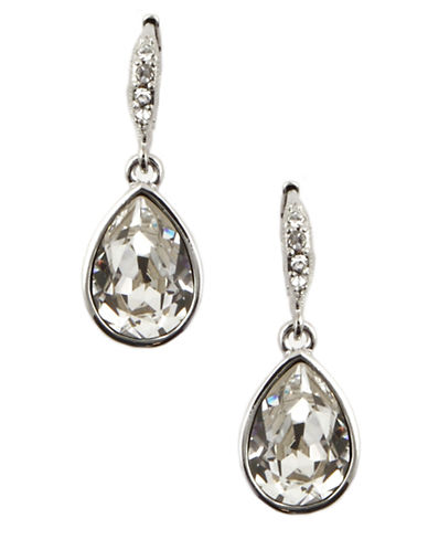 GIVENCHY Silver-Tone Teardrop-Shaped Crystal Drop Earrings