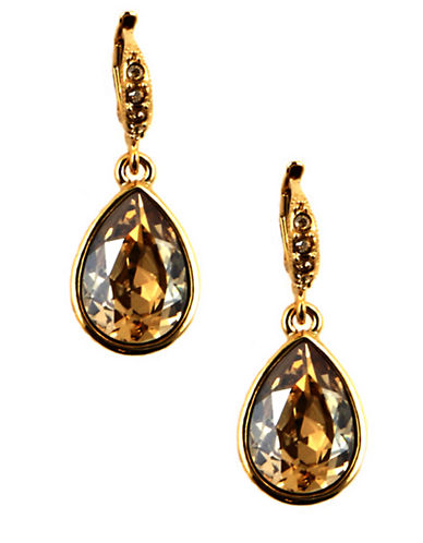 GIVENCHY Gold-Tone Teardrop-Shaped Crystal Drop Earrings
