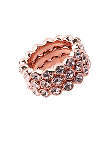 GIVENCHYRose Gold Tone and Crystal Stackable Ring Set