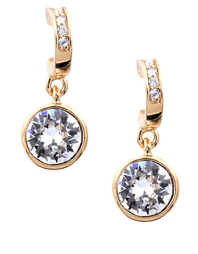 GIVENCHY Gold Tone and Round Crystal Drop Earrings