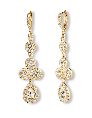 GIVENCHY10Kt. Gold and Crystal Linear Pear Drop Earrings