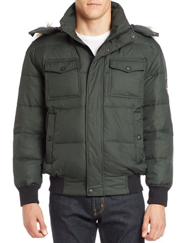 Vry Warm Faux Fur-Trimmed Hooded Bomber Jacket