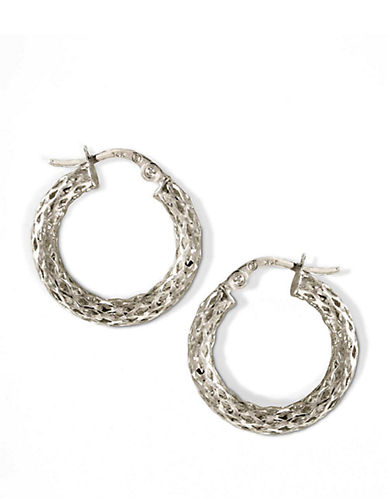 LORD & TAYLOR14 Kt. White Gold Textured Small Hoop Earrings