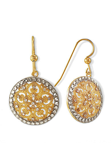 LORD & TAYLOR14 Kt. Gold Two Tone Circle Drop Earrings