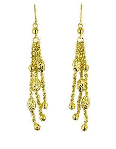 LORD & TAYLOR14 Kt. Yellow Gold Triple Strand Drop Earrings