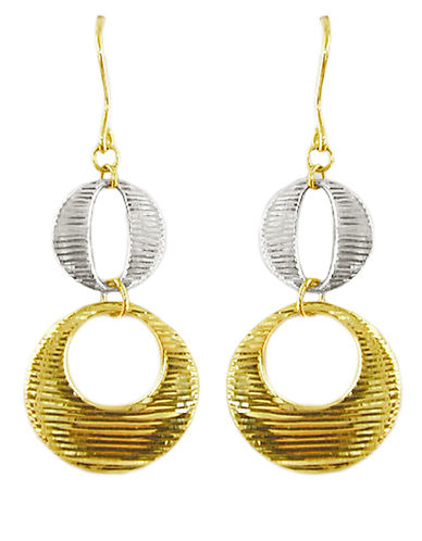 LORD & TAYLOR14 Kt Two Tone Gold Drop Earrings