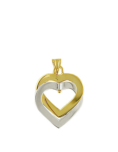 LORD & TAYLOR14 Kt. Two Tone Gold Double Heart Pendant Necklace