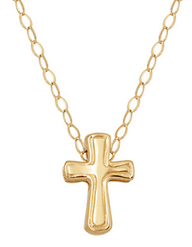 LORD & TAYLOR14 Kt. Yellow Gold Cross Charm Necklace
