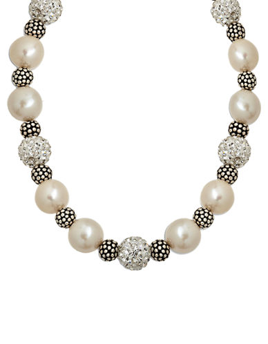 LORD & TAYLOR Sterling Silver Pearl and Crystal Necklace with Oxidized Beads