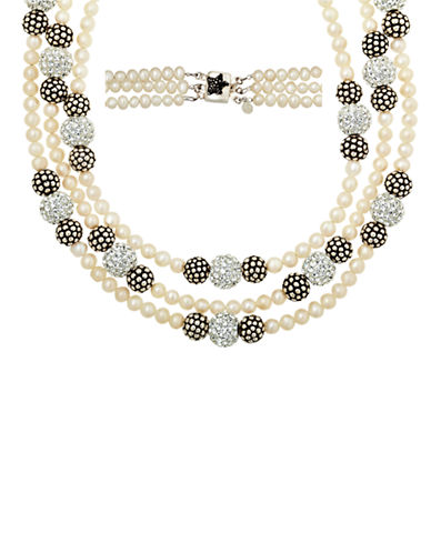 LORD & TAYLOR Sterling Silver Pearl and Crystal Strand Necklace with Oxidized Beads