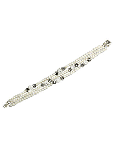 LORD & TAYLOR Sterling Silver Pearl and Crystal Bracelet with Oxidized Beads