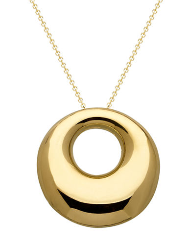 LORD & TAYLOR 14Kt. Yellow Gold Puffed Circle Pendant Necklace
