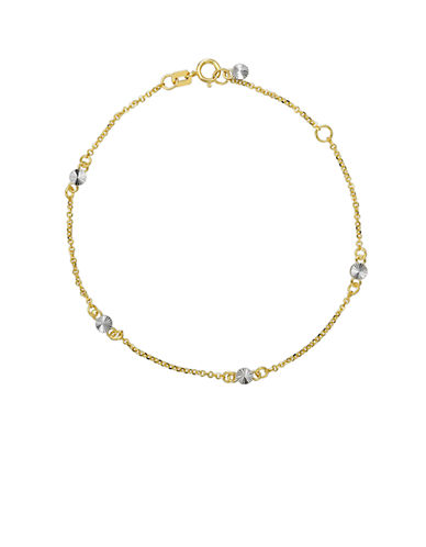 LORD & TAYLOR14 Kt. Yellow Gold Chain Necklace with Silver Tone Accents
