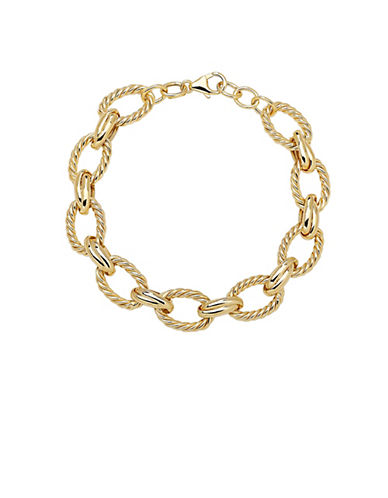 LORD & TAYLOR14Kt. Yellow Gold Textured Link Bracelet