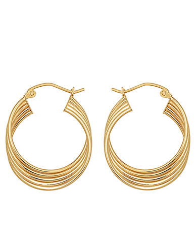 LORD & TAYLOR14Kt. Yellow Gold Four Row Hoop Earrings