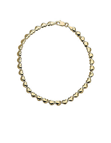 LORD & TAYLOR14Kt Yellow Gold Heart Link Bracelet