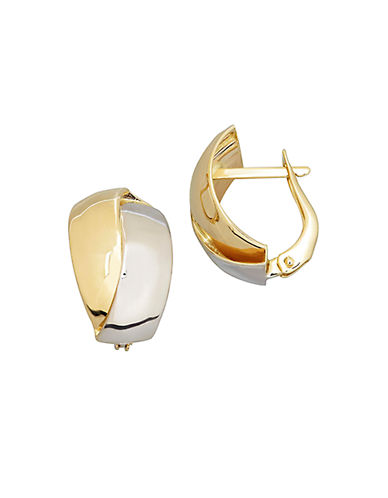 LORD & TAYLOR14Kt Yellow and White Gold Polished Hoop Earrings