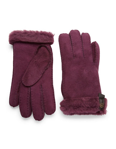 UGG AUSTRALIA Leather Trim And Shearling Cuff Tenny Gloves