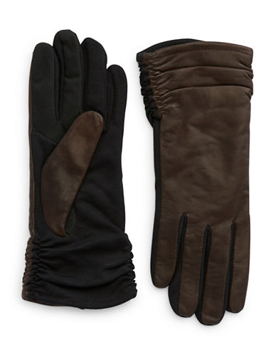 Lord & Taylor Brown Ruched Gloves