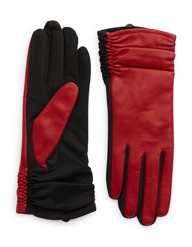 Lord & Taylor Cherry Ruched Gloves