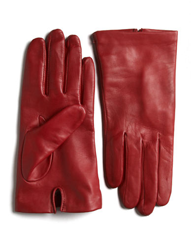 LORD & TAYLOR Silk-Lined Leather Gloves