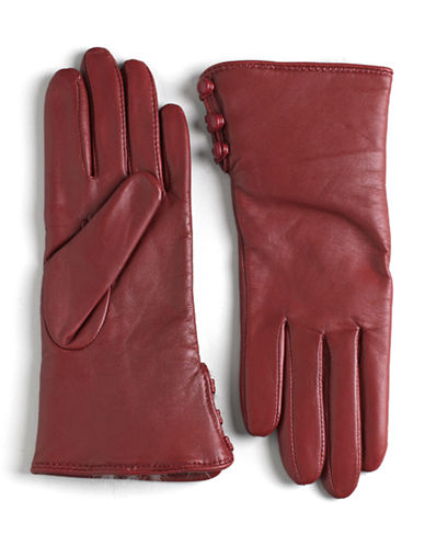 LORD & TAYLORRabbit Fur Lined Cuff Leather Gloves