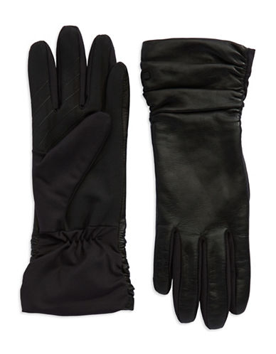 UR CONNECTED Ruched Leather Gloves