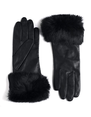LORD & TAYLOR Fur-Trimmed Leather Gloves