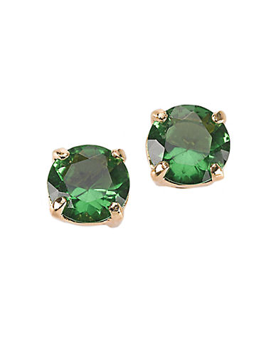 KATE SPADE NEW YORK12 Kt Gold Plated Green Glass Stud Earrings