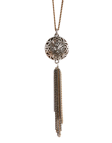 Lucky Brand Silver and Goldtone Openwork Pendant Necklace
