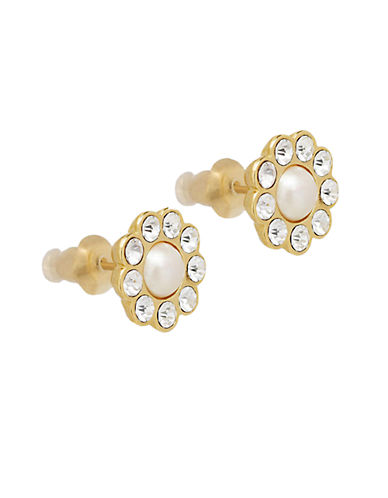 KATE SPADE NEW YORKGlass Stone and Faux Pearl Stud Earrings