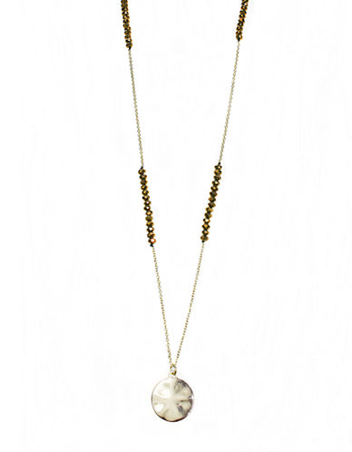 KENSIE Chain Pendant Necklace with Beaded Accents