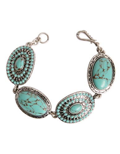 LUCKY BRANDSilver Tone Metal and Turquoise Bracelet