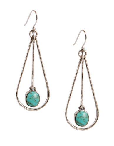 LUCKY BRANDSilver Tone Metal and Turquoise Stone Drop Earrings