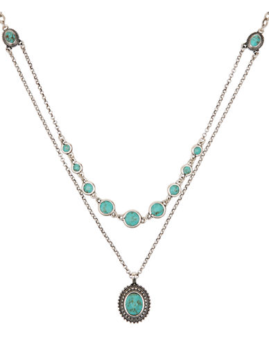 LUCKY BRANDSilver Tone and Turquoise Double Layer Necklace