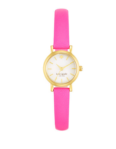 KATE SPADE NEW YORK Ladies Gold Tone and Bazooka Pink Tiny Metro Watch