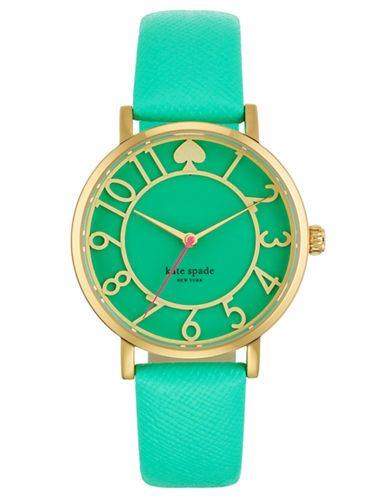 KATE SPADE NEW YORK Ladies Gold Tone and Bud Green Watch