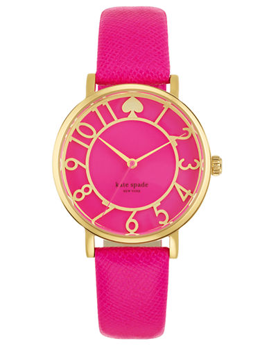 KATE SPADE NEW YORK Ladies Gold Tone and Pink Leather Strap Watch