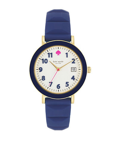 KATE SPADE NEW YORK Ladies Metro Gold Tone and Navy Watch