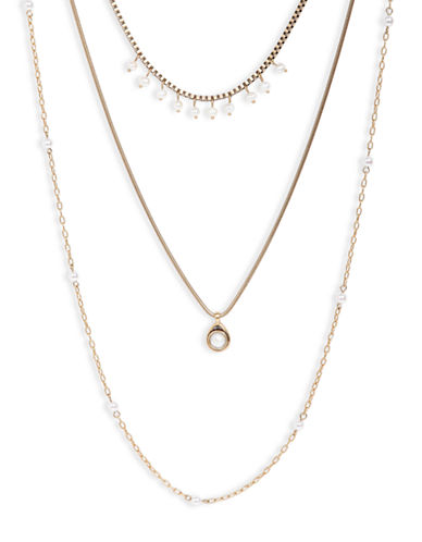 LUCKY BRANDTiered Goldtone Chain and Pearl Necklace