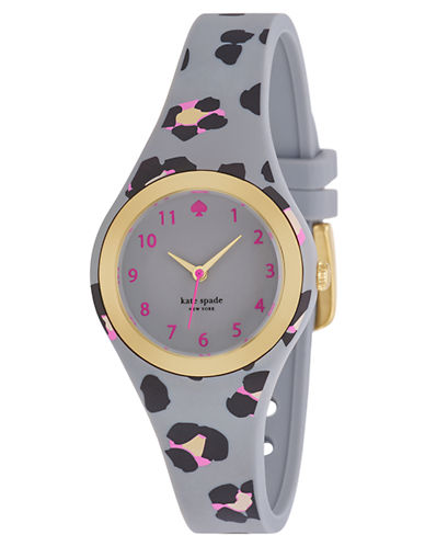 KATE SPADE NEW YORK Ladies Rumsey Gold Tone and Printed Gray Watch