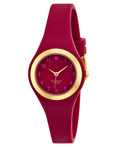 KATE SPADE NEW YORK Ladies Rumsey Gold Tone and Crimson Watch
