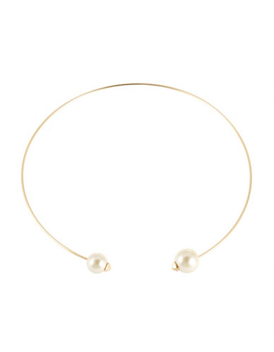 KENSIE Faux Pearl Torque Necklace