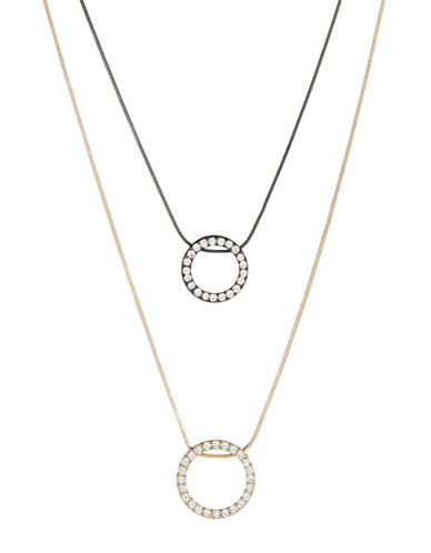 KENSIEDouble Pave Ring Pendant Necklace
