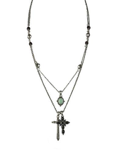 LUCKY BRANDSilvertone Cross Charm Necklace