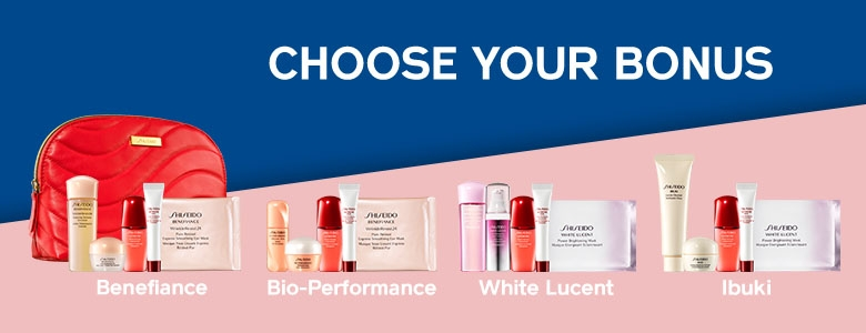 Receive your choice of 6-piece bonus gift with your 2 Shiseido Skincare products purchase